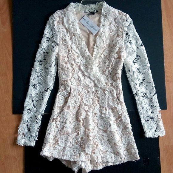 For Love And Lemons Pants - FOR LOVE & LEMONS White Crochet Lace Romper XS/S